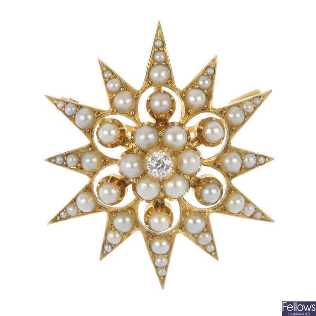 A late 19th century 15ct gold split pearl and diamond star brooch.