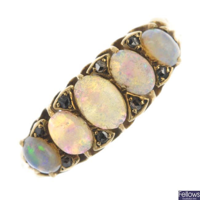 An 18ct gold Edwardian opal and diamond five-stone ring.