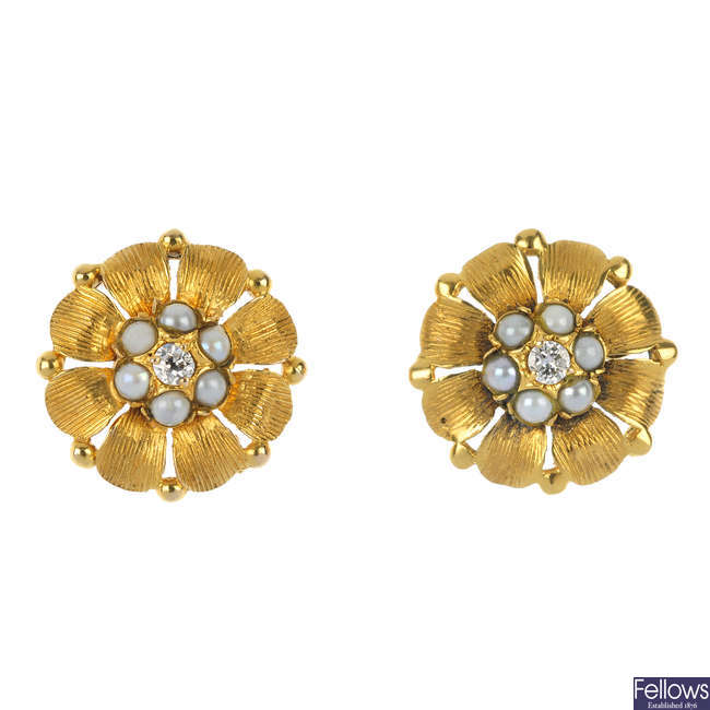 A pair of 9ct gold diamond and split pearl floral ear studs.