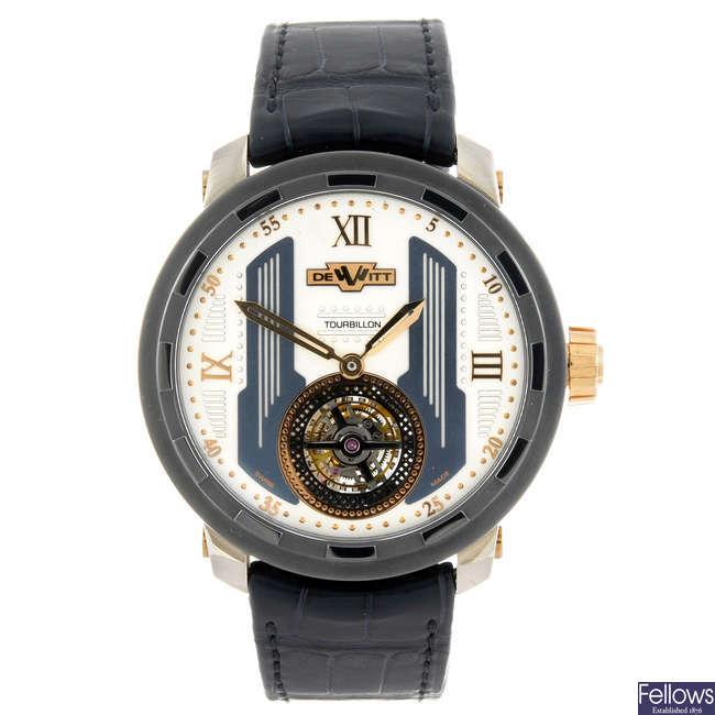 DEWITT - a gentleman's  bi-metal Twenty 8 Eight tourbillon wrist watch.