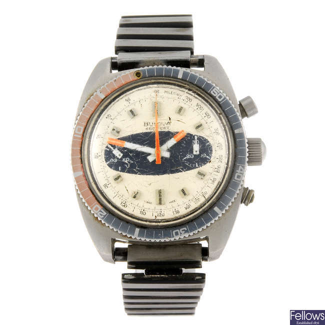 BULOVA - a gentleman's stainless steel 666 Feet chronograph bracelet watch.