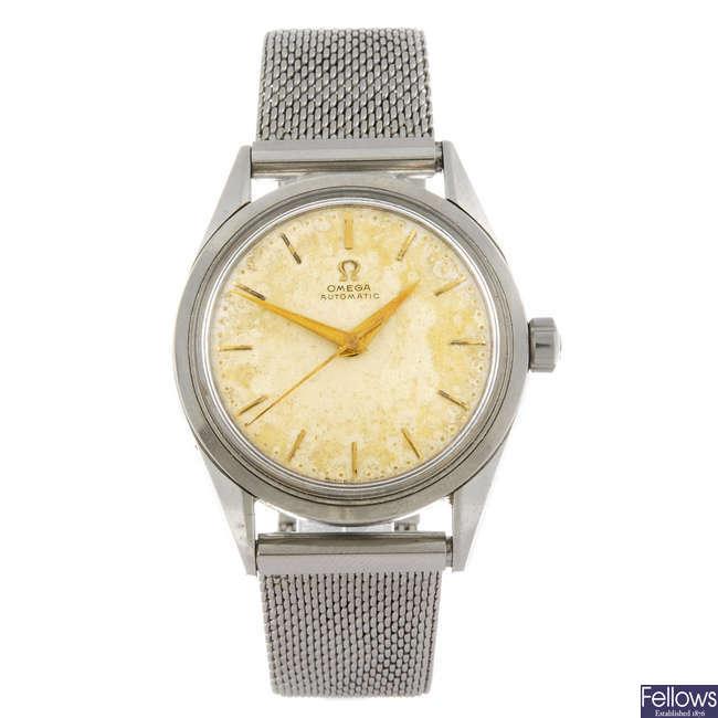 OMEGA - a gentleman's stainless steel bracelet watch.