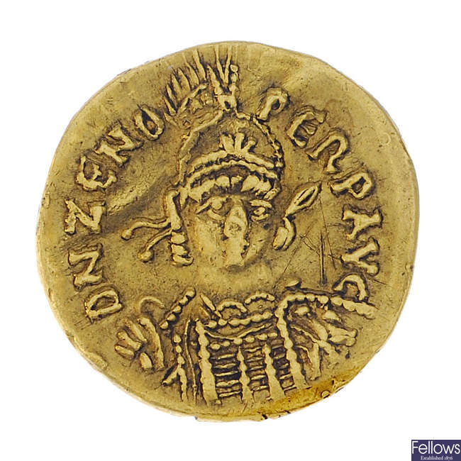 Roman Empire, Zeno (AD 476-491), gold Solidus.
