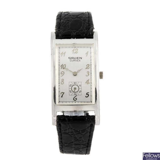 GRUEN - a gentleman's nickel plated Curvex wrist watch.