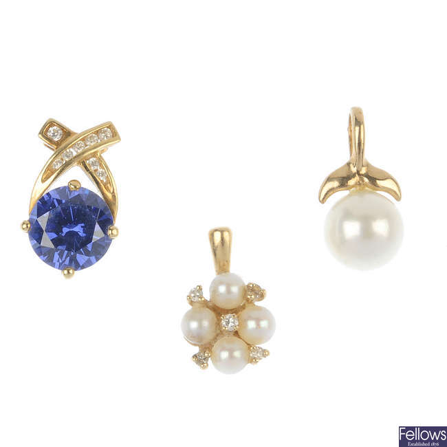 A 14ct gold diamond ring together with four cultured pearl and gem-set pendants.