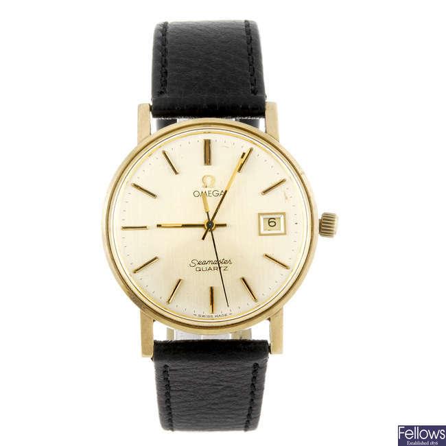 OMEGA - a gentleman's 9ct yellow gold Seamaster wrist watch.