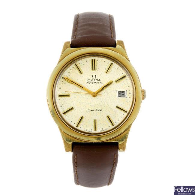 OMEGA - a gentleman's gold plated Geneve wrist watch.
