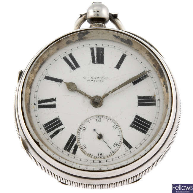 A silver open face pocket watch by W.Sawdon.