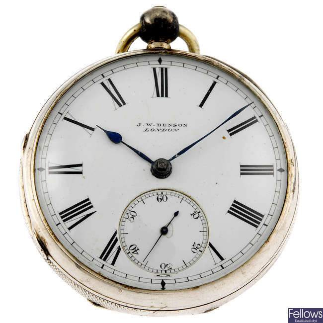 A silver open face pocket watch by J.W Benson with chain.