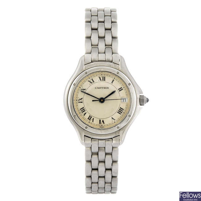 CARTIER - a stainless steel Panthere bracelet watch.
