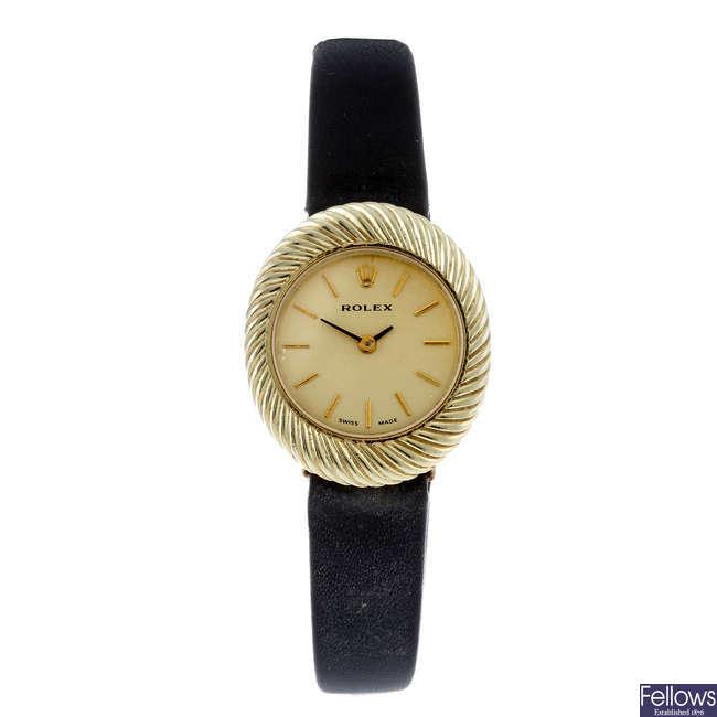 ROLEX - a lady's 14ct yellow gold wrist watch.