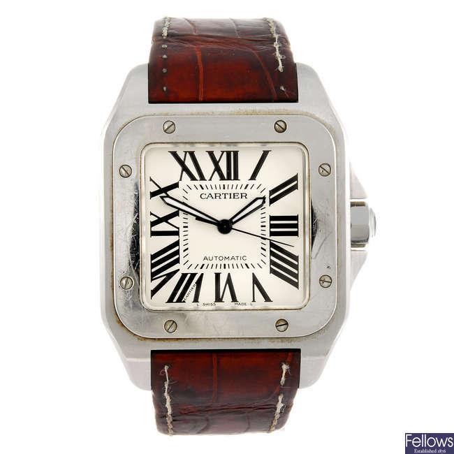 CARTIER - a Santos 100 wrist watch.