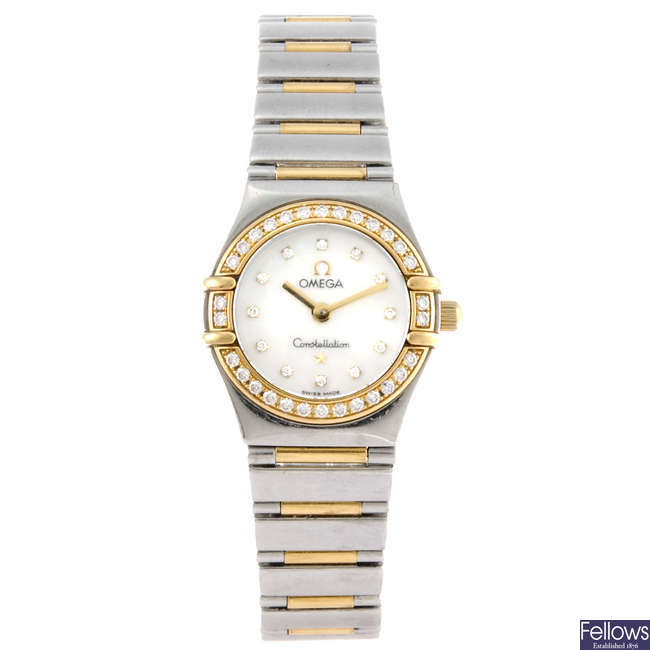 OMEGA - a lady's bi-metal Constellation My Choice bracelet watch.