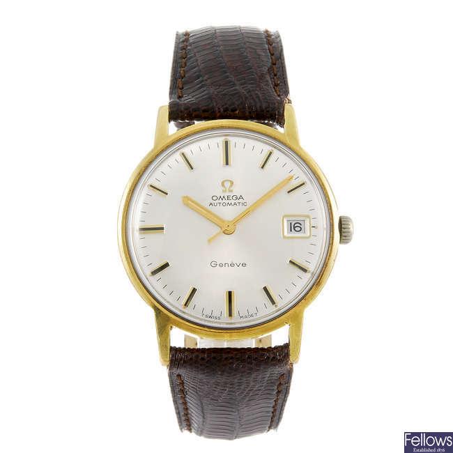OMEGA - a gentleman's bi-colour Geneve wrist watch.