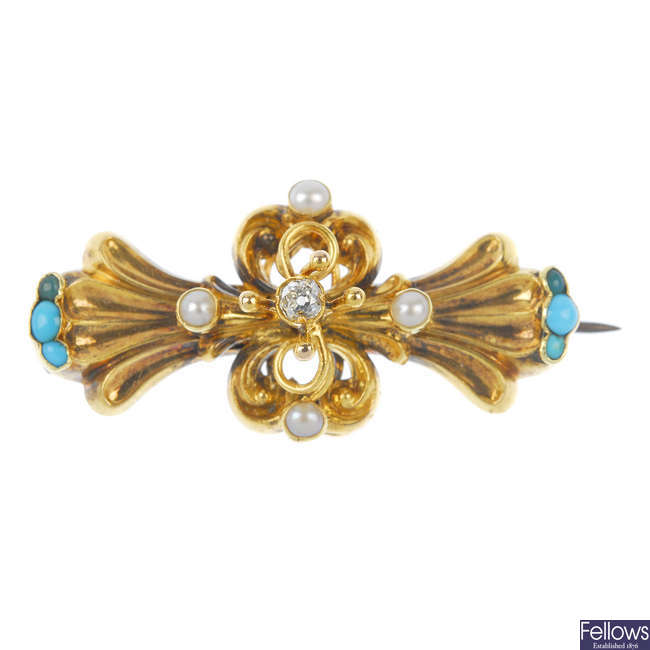A late 19th century gold gem-set memorial brooch