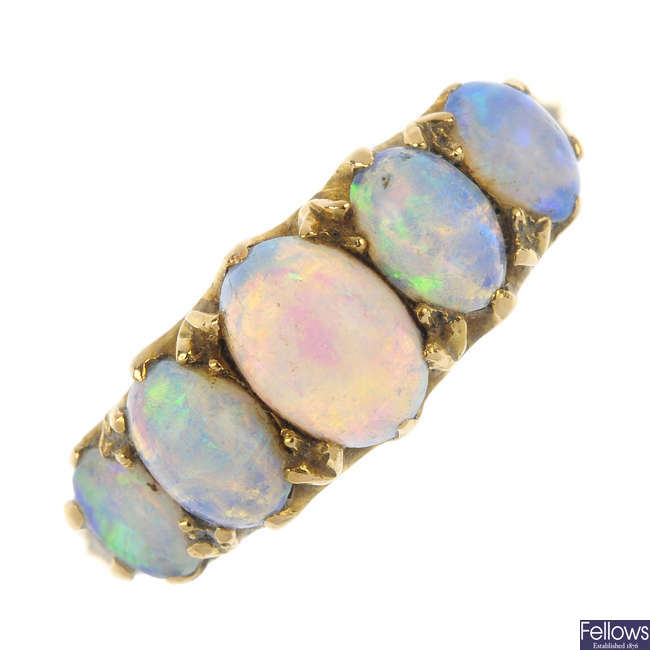A late 19th century 18ct gold opal five-stone ring.