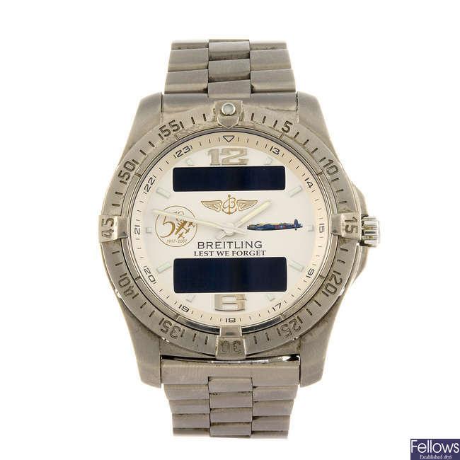 BREITLING - a gentleman's titanium Professional Aerospace Avantage bracelet watch.