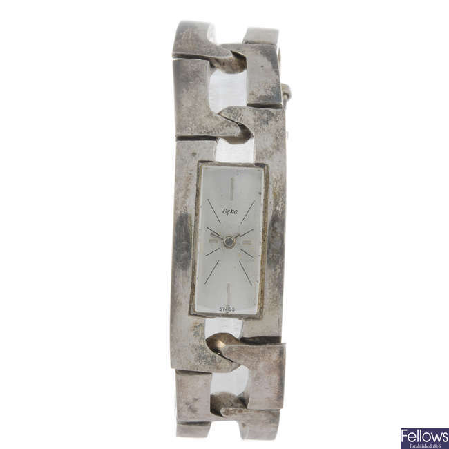 ESKA - a lady's white metal bracelet watch.