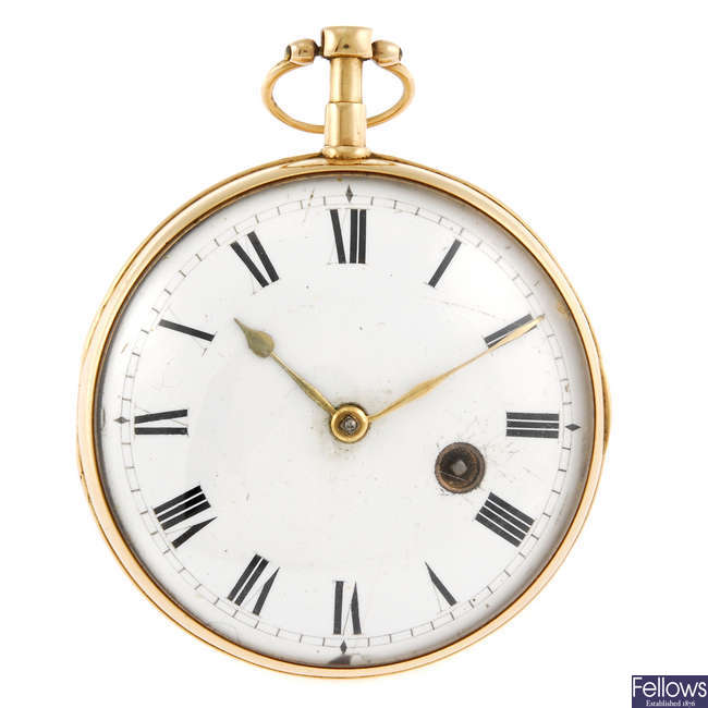 A yellow metal open face pocket watch by George Allen.