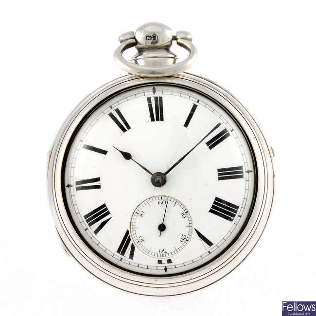 An open face pair case pocket watch.