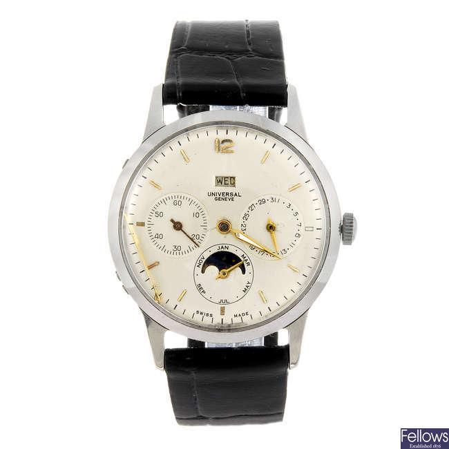 UNIVERSAL GENEVE - a gentleman's stainless steel triple date calendar wrist watch.