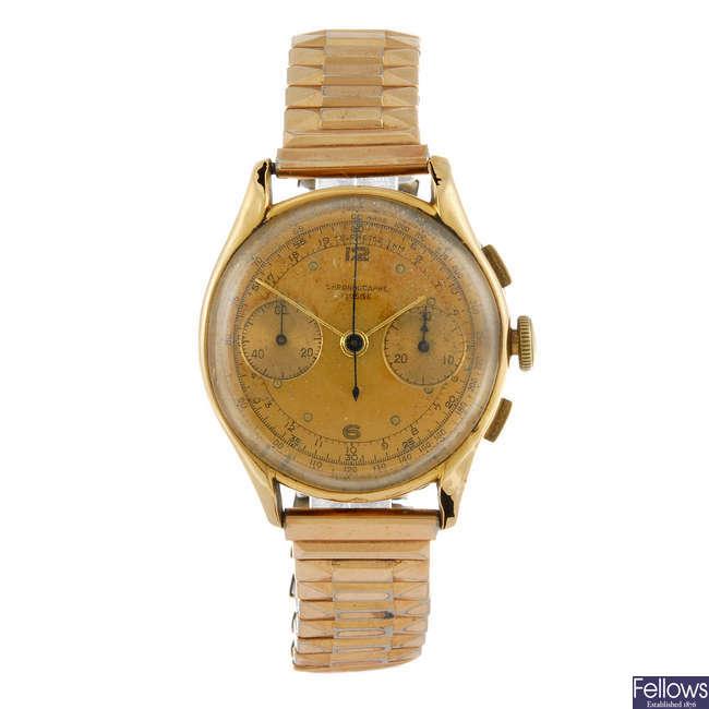 CHRONOGRAPHE SUISSE - a gentleman's yellow metal chronograph bracelet watch.