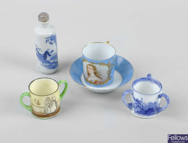 A small group of cabinet porcelain miniatures