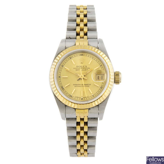 ROLEX - a lady's bi-metal Oyster Perpetual Datejust bracelet watch.