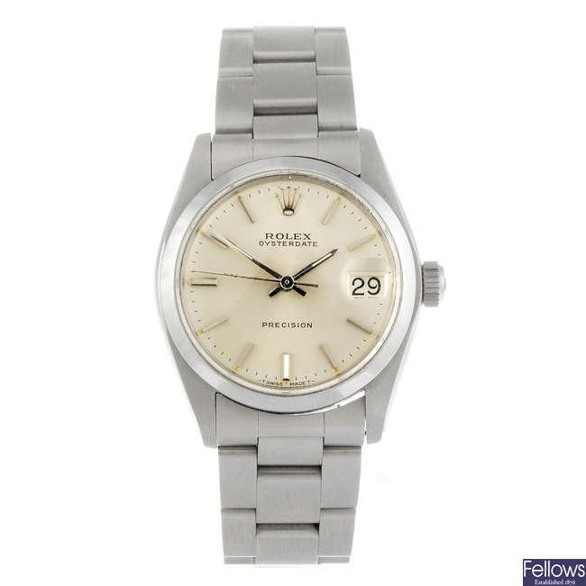 ROLEX - a gentleman's stainless steel Oysterdate Precision wrist watch.