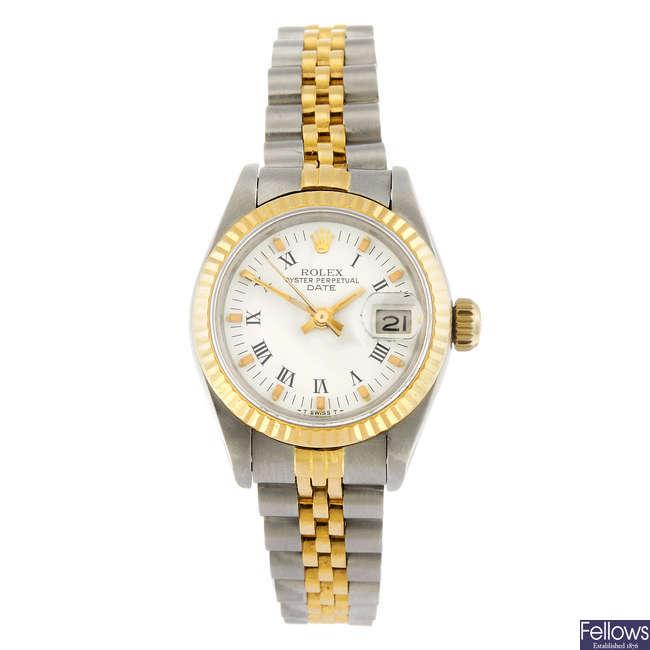 ROLEX - a lady's bi-metal Oyster Perpetual Date bracelet watch.