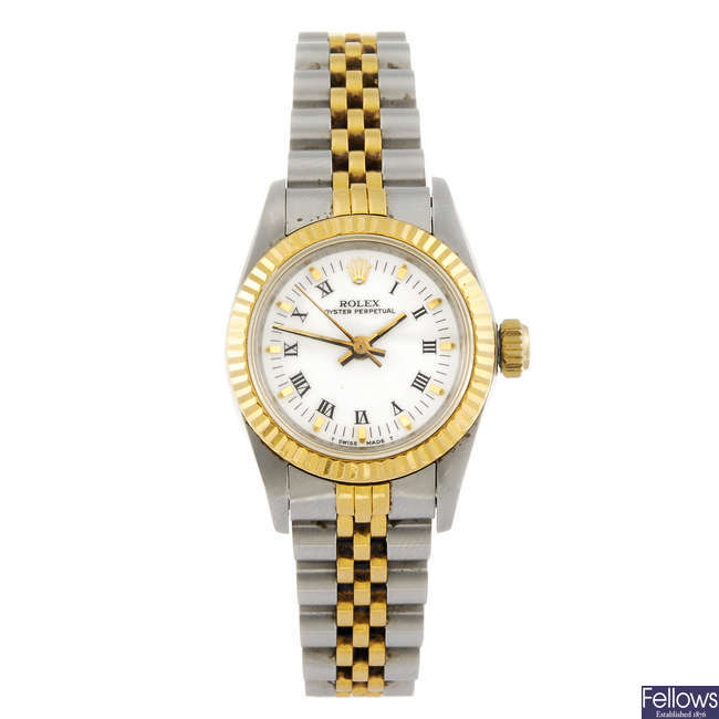 ROLEX - a lady's bi-metal Oyster Perpetual bracelet watch.