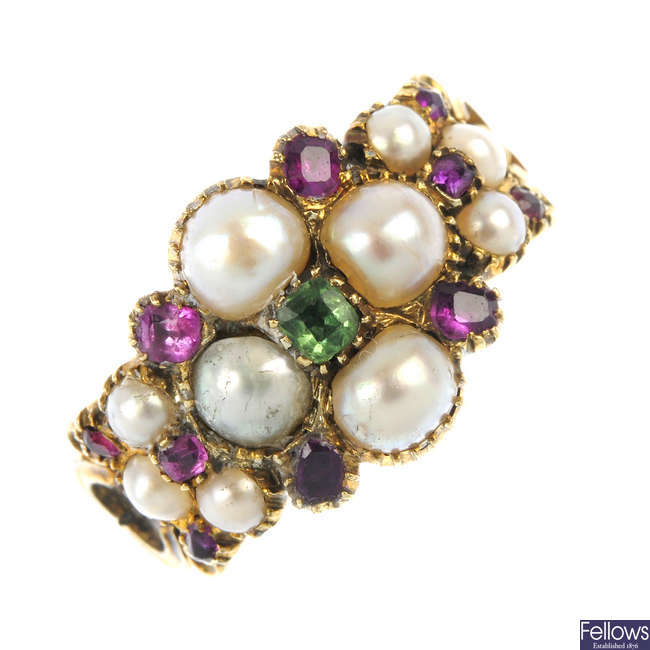 A mid 19th century split pearl and gem-set floral ring.