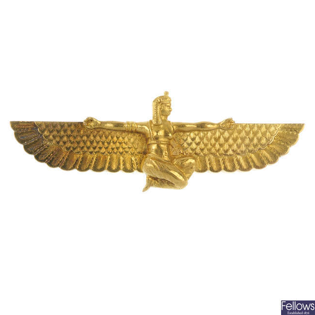 An early 20th century gold Egyptian revival brooch.