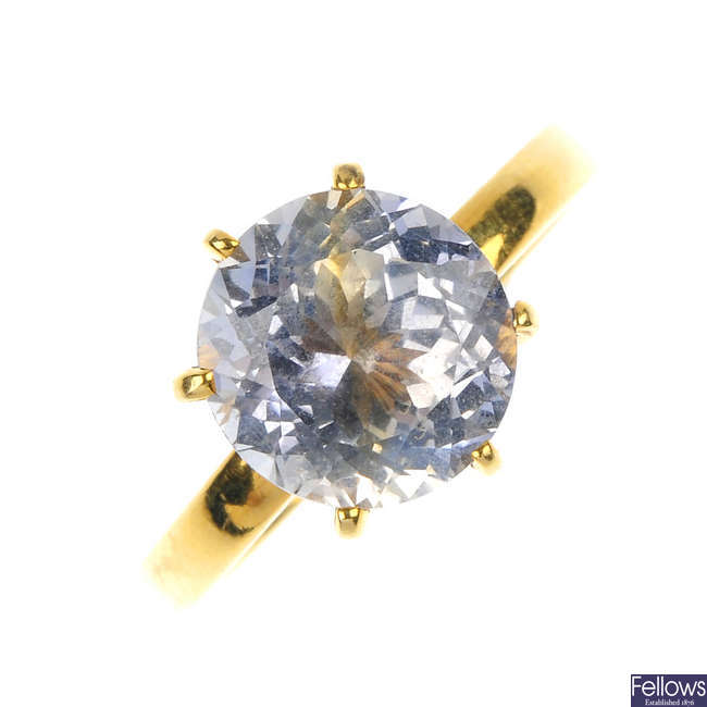 A sapphire single-stone ring.