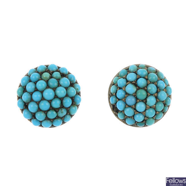 A pair of late 19th century turquoise ear studs.
