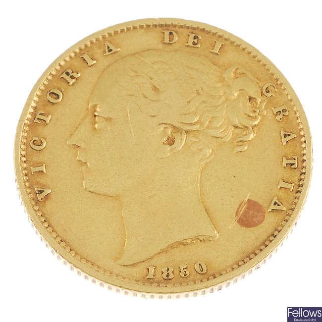 Victoria, Sovereign 1850, Roman I in date.