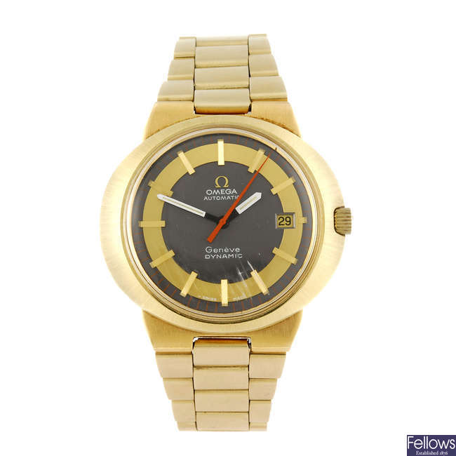 OMEGA - a gentleman's gold plated Dynamic bracelet watch.