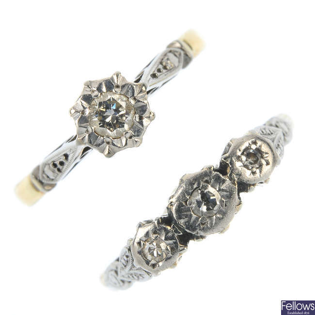 Two diamond rings.