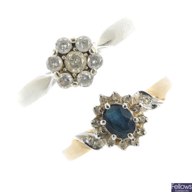 Two 9ct gold gem-set cluster rings.