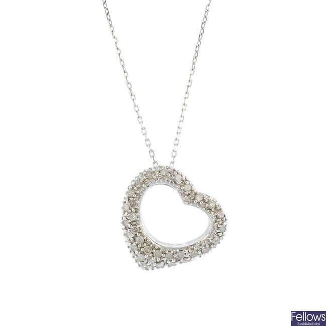 A 9ct gold diamond heart pendant and a pair of paste ear hoops.