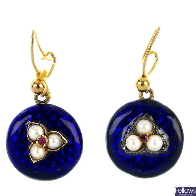 A pair of Victorian gold enamel and split pearl ear pendants.