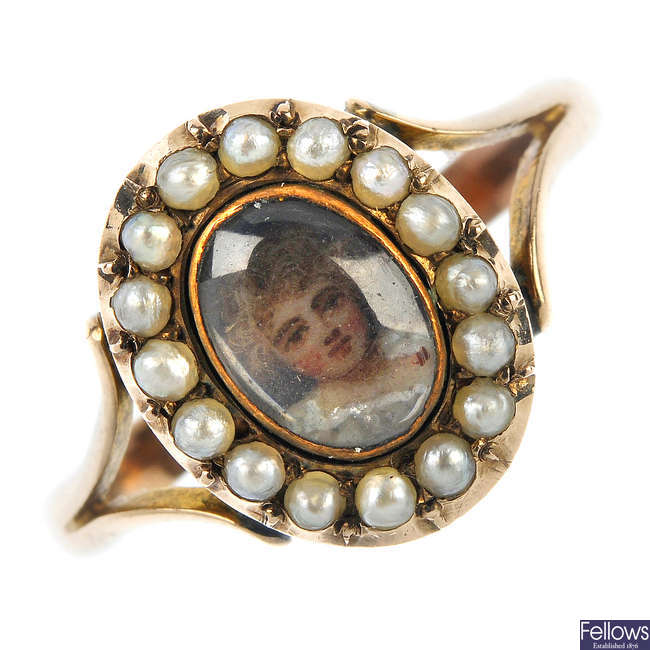 A late Victorian gold miniature portrait and split pearl ring.