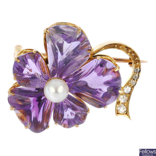 An amethyst, cultured pearl and diamond pansy brooch.