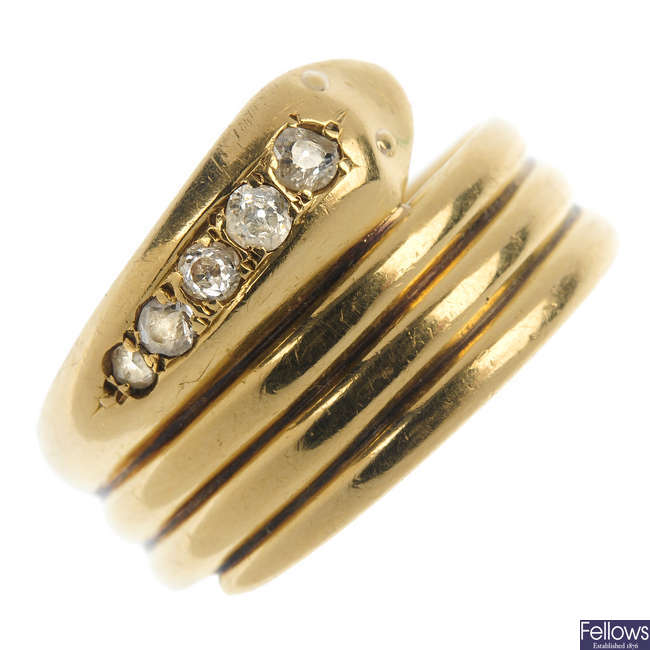 An 18ct gold early 20th century diamond snake ring.