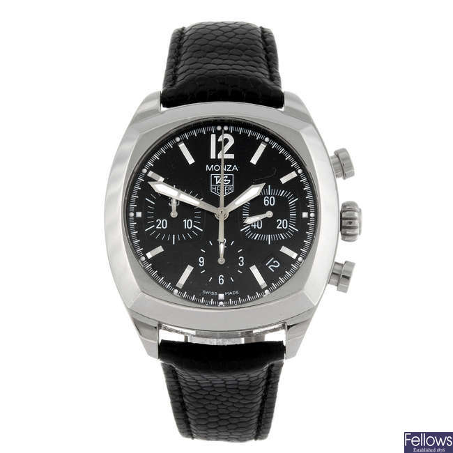 TAG HEUER - a gentleman's stainless steel Monza chronograph wrist watch.