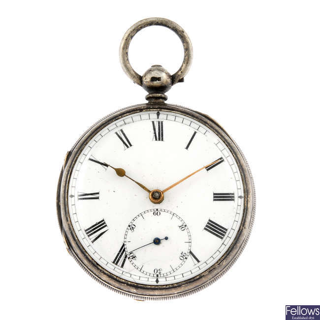 A silver pair case pocket watch with another silver pocket watch.