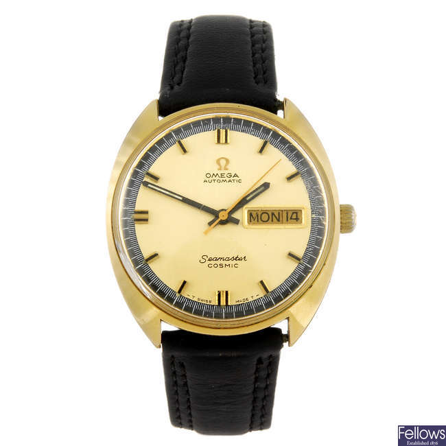 OMEGA - a gentleman's gold plated Seamaster Cosmic wrist watch.