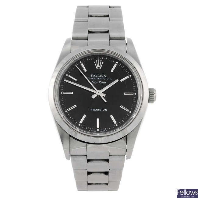 ROLEX - a gentleman's stainless steel Oyster Perpetual Air King bracelet watch.