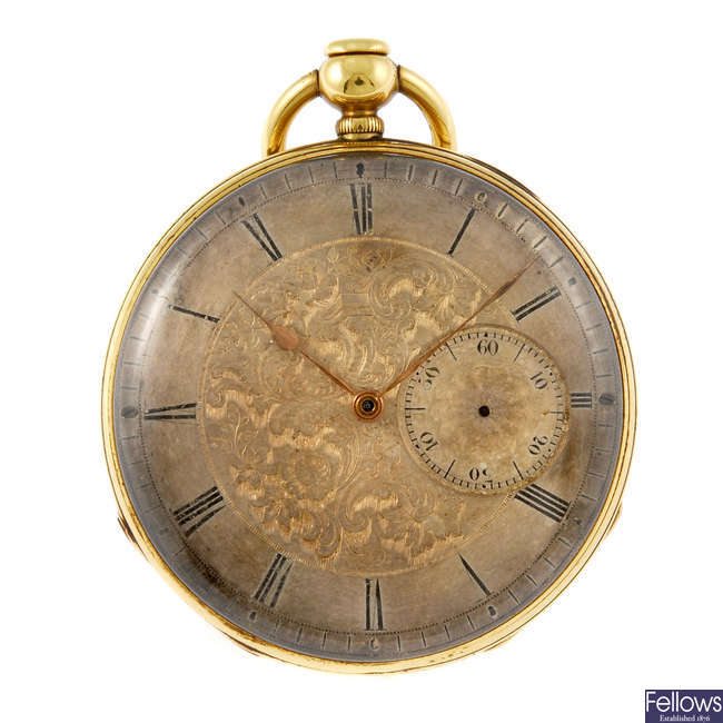 A yellow metal open face repeater pocket watch by Mouline & Co.