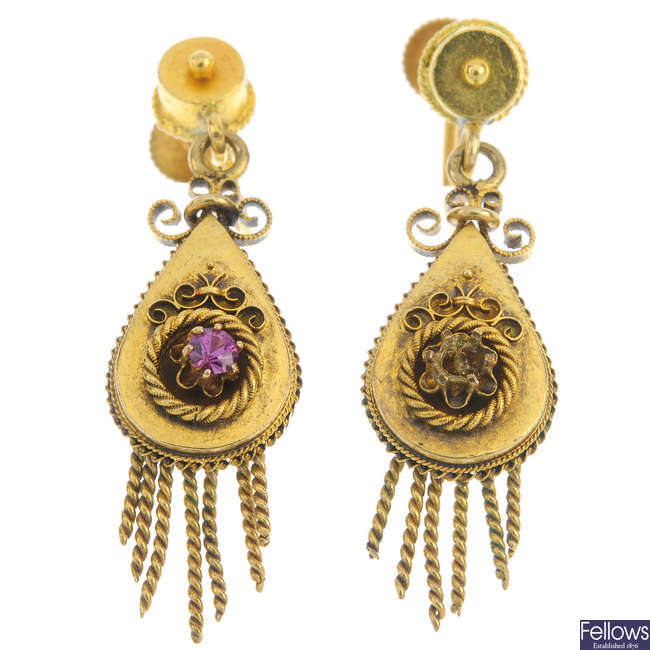 Two pairs of late 19th century gold gem-set ear pendants.